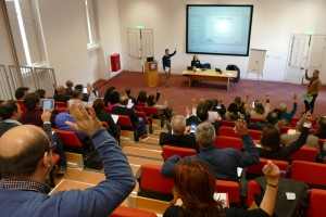 Hands up in lecture theatre